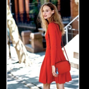 J Crew Red Pleated Ponte dress S 4 Long Sleeve